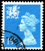 Wales 1971-93 15p bright-blue Litho Questa fine used.
