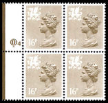 Wales 1971-93 16p drab perf 15x14 Litho Questa block of 4 unmounted mint.