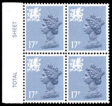 Wales 1971-93 17p grey-blue type II Litho Questa block of 4 unmounted mint.