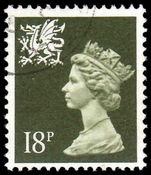 Wales 1971-93 18p deep olive grey Litho Questa fine used.