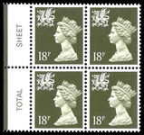 Wales 1971-93 18p deep olive grey Litho Questa block of 4