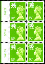 Wales 1971-93 18p bright green centre band perf 14 Litho Questa block of 6 unmounted mint.