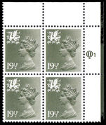 Wales 1971-93 19½p olive grey Litho Questa block of 4 fine used.