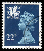 Wales 1971-93 22p blue Litho Questa fine used.