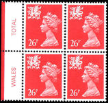 Wales 1971-93 26p rosine perf 15x14 Litho Questa block of 4 unmounted mint.