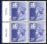 Wales 1971-93 28p deep violet blue perf 15x14 Litho Questa block of 4 unmounted mint.