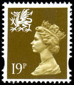 Wales 1993-96 19p bistre centre band Litho Questa elliptical perf unmounted mint.