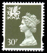 Wales 1993-96 30p deep olive-gery Litho Questa elliptical perf unmounted mint.