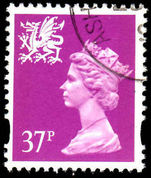 Wales 1993-96 37p bright mauve Litho Questa elliptical perf fine used.
