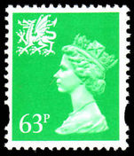 Wales 1993-96 63p light emerald Litho Questa elliptical perf unmounted mint.