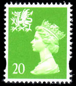Wales 1997-98 20p Bright green centre band without p unmounted mint.