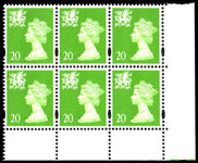 Wales 1997-98 20p Bright green centre band without p block of 6 unmounted mint.