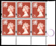 Wales 1997-98 26p chestnut without p block of 6 unmounted mint.