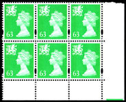 Wales 1997-98 63p light emerald without p block of 6 unmounted mint.