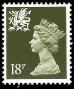 Wales 1988 18p deep olive grey PVAD gum unmounted mint.