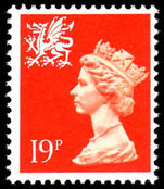 Wales 1989 19p bright orange red CPL paper unmounted mint.