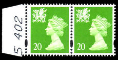 Wales 1997 20p bright green without p scarce wide printing (see footnote in Spec cat) unmounted mint.