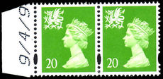 Wales 1998 20p bright green without p scarce wide printing (see footnote in Spec cat) unmounted mint.