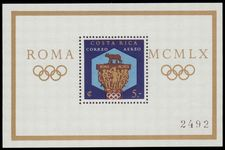 Costa Rica 1960 Olympics souvenir sheet perf unmounted mint.