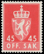 Norway 1958 45ø official unmounted mint.