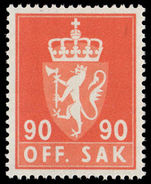 Norway 1958 90ø official unmounted mint.