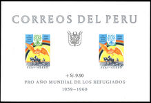 Peru 1960 World Refugee Year souvenir sheet unmounted mint.