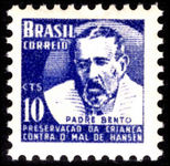 Brazil 1954 10c ultramarine Father Bento Leprosy Research unmounted mint.