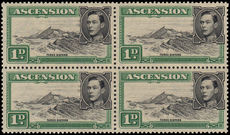 Ascension 1949 1d Three Sisters unmounted mint block of 4 the top right showing Re-entry on frame-line.