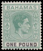 Bahamas 1938-52 £1 grey-green and black ordinary paper fine mint lightly hinged..