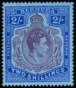 Bermuda 1938-53 2/- deep purple & ultramarine on grey-blue REGUMMED lightly hinged.