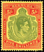 Bermuda 1938-53 5/- green & red on yellow fine mint lightly hinged.