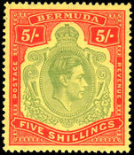 Bermuda 1938-53 5/- pale green & red on yellow fine mint with a hint of a hinge mark.