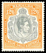 Bermuda 1938-53 12/6d grey and brownish-orange lightly hinged with gum toning.