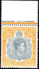 Bermuda 1938-53 12/6d grey and pale orange perf 13 unmounted mint marginal (hinged on margin).