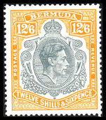 Bermuda 1938-53 12/6d grey and pale orange perf 13 lightly hinged.