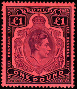 Bermuda 1938-53 £1 pale purple and black on pale red unmounted mint.