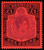 Bermuda 1938-53 £1 bright violet & black on scarlet perf 13 unmounted mint.