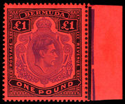 Bermuda 1938-53 £1 bright violet & black on scarlet perf 13 unmounted mint marginal.