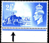 Channel Islands 1948 Liberation 2½d with Broken Wheel variety.