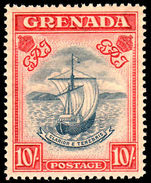 Grenada 1938-50 10/- perf 14 slate blue & bright carmine unmounted mint overall toned.