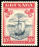Grenada 1938-50 10/- perf 14 slate blue & bright carmine mint lightly hinged.
