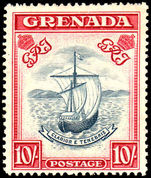 Grenada 1938-50 10/- perf 14 slate blue & carmine-lake mint lightly hinged.