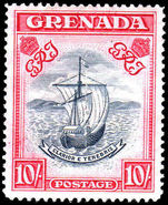 Grenada 1938-50 10/- perf 14 steel blue & bright carmine mint lightly hinged.