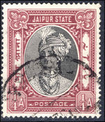 Jaipur 1932-46 ¼a Postage double print fine used.