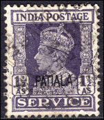 Patiala 1939-44 1½a official fine used.
