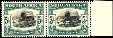 South Africa 1944 5/- Ox-wagon blue-green roto fine mint lightly hinged.