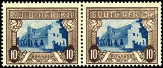 South Africa 1939 10/- blue & sepia mint hinged. Slight surface scuffing.