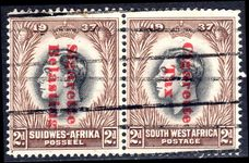 South West Africa 1937 2d Coronation pair Cigarette Tax pair fine lightly mounted mint.