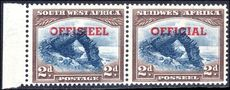 South West Africa 1951-52 2d blue and brown official transposed overprint fine lightly mounted mint.