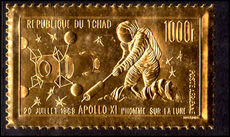 Chad 1969 Moon Landing gold stamp unmounted mint.